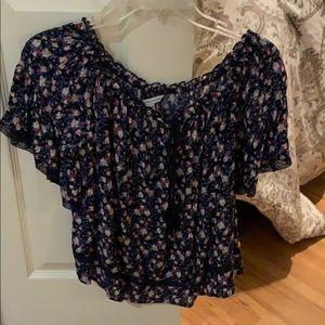 off the shoulder flower shirt